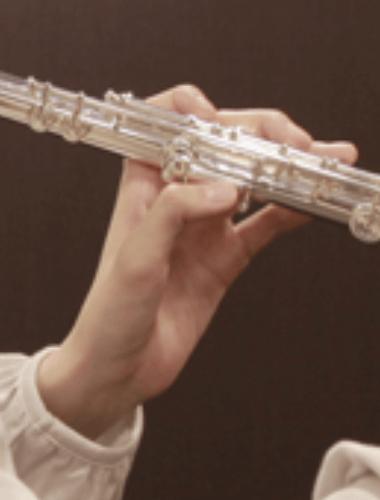 левая рука на флейте (вид сзади)