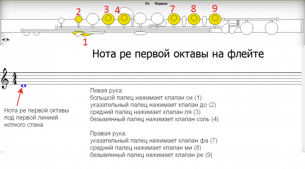 аппликатура флейты ре первой октавы